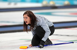 Great Britain skipper Eve Muirhead during the Women's Semi-Final against Sweden at the Gangneung Curling Centre during day fourteen of the PyeongChang 2018 Winter Olympic Games in South Korea.