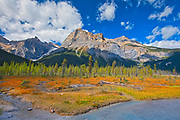 The President Range at Emerald Lake. Canadian Rocky Mountains<br /> Yoho National Park<br /> British Columbia<br /> Canada