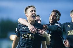 Falkirk's Will Vaulks celebrates after scoring their goal. Falkirk 1 v 0 Kilmarnock, Ladbrokes Premiership Play-Off First Leg, played 19/5/2016 at The Falkirk Stadium.