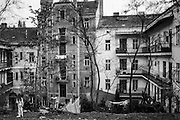View to the backyard of a housing complex in Zizkov.