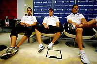 Friidrett , 20. august 2009 , VM Berlin ,  pressekonferanse<br /> Fra venstre  Antti Ruuskanen , Teemu Wirkkala  og Tero Jarvenpaa , Finland , spyd