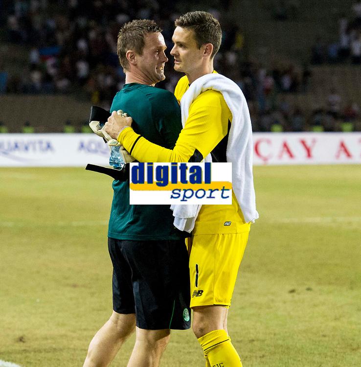 05/08/15 UEFA CHAMPIONS LEAGUE 3RD QUALIFIER 2ND LEG<br /> QARABAG FK V CELTIC<br /> TOFIQ BAHARMOV STADIUM - BAKU<br /> Celtic manager Ronny Deila (left) celebrates with Craig Gordon at full-time