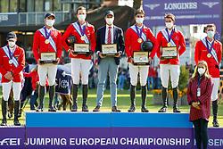 RIESENBECK - FEI Jumping European Championship Riesenbeck 2021<br /> <br /> Team Switzerland<br /> BAUMANN Elian (SUI), BALSIGER Bryan (SUI), FUCHS Martin (SUI), GUERDAT Steve (SUI), SORG Michel (Chef d´Equipe)<br /> Siegerehrung / Prize giving ceremony<br /> Second Qualifying Competition - Round 2 <br /> Team Final<br /> <br /> Hörstel-Riesenbeck, Reitanlage Riesenbeck International<br /> 03. September 2021<br /> © www.sportfotos-lafrentz.de/Stefan Lafrentz