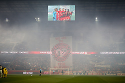 November 11, 2018 - Harrisonrmas, NJ, U.S. - Harrison, NJ - NOVEMBER 11:  A General view of a Tifo raised prior to the first half of the Major League Soccer Eastern Conference Semifinals between the Columbus Crew SC and the NY Red Bulls on November 11, 2018 at Red Bull Arena in Harrison, NJ.   (Photo by Rich Graessle/Icon Sportswire) (Credit Image: © Rich Graessle/Icon SMI via ZUMA Press)