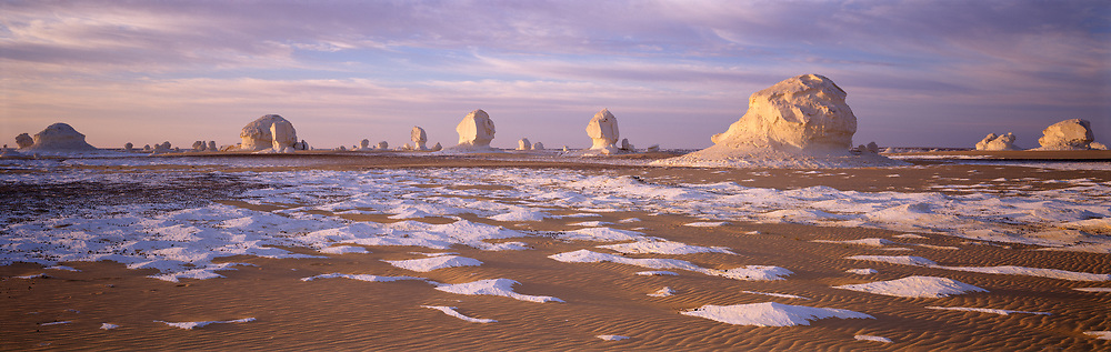 Formations in the White Desert at sunrise
