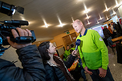 Ana Kobal, journalist and Nik Zupancic at departure of Slovenian Olympic team to PyeongChang, on February 6, 2018 in Aerodrom Ljubljana, Cerklje na Gorenjskem, Slovenia. Photo by Matic Klansek Velej / Sportida