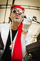 The Right Reverend Dean Dawg of Brother Joscephus and the Love Revival Revolution Orchestra with the soft touch while singing to the crowd at Appel Farm's 2012 Arts & Music Festival.