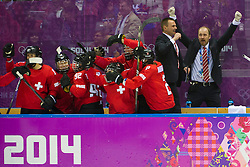20.02.2014, Bolshoy Ice Dome, Adler, RUS, Sochi, 2014, Eishockey Damen, Spiel um die Bronzemedaille, im Bild Die Schweizerinnen jubeln nach einem Tor auf den Bank // during Womens Icehockey Match for Bronze Medal of the Olympic Winter Games Sochi 2014 at the Bolshoy Ice Dome in Adler, Russia on 2014/02/20. EXPA Pictures © 2014, PhotoCredit: EXPA/ Freshfocus/ Urs Lindt<br /> <br /> *****ATTENTION - for AUT, SLO, CRO, SRB, BIH, MAZ only*****