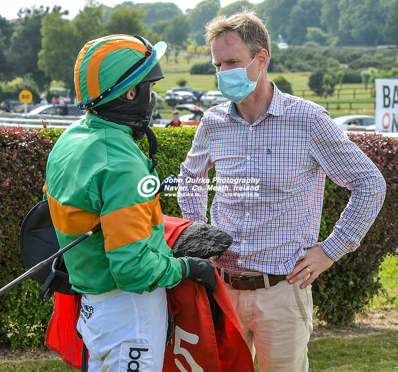 Traiiner, Thomas Gibney chats to jockey Darragh O'Keeffe,  at Bellewstown Races.<br /> <br /> Photo: GERRY SHANAHAN-WWW.QUIRKE.IE<br /> <br /> 03-07-2021