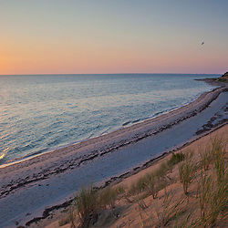 Sunset over Duck Harbor Beach in Wellfleet, Massachusetts. Cape Cod.