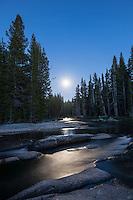 Full moon illuminates night sky over Lyell fork of Tuolumne river, Yosemite national park, California, USA