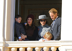 Charlotte Casiraghi and and her son Raphael, Princess Caroline of Hanover and Andrea Casiraghi attending the Monaco National Day Celebrations in the Monaco Palace Courtyard on November 19, 2017 in Monaco, Monaco. Photo by Yuri Krakow/ABACAPRESS.COM