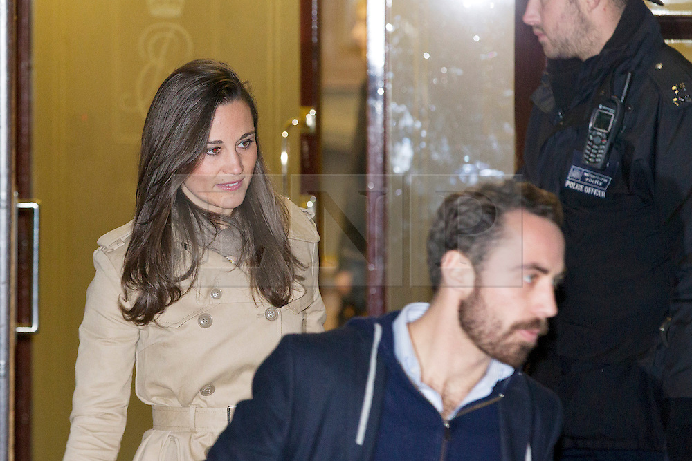 © Licensed to London News Pictures. 05/12/2012. London, UK. The brother and sister of Kate, Duchess of Cambridge, Pippa and James Middleton, leave the King Edward VII Hospital in London today (05/12/12) after visiting her sister, who is staying at the hospital after being diagnosed with hyperemesis gravidarum, a severe form of morning sickness. Photo credit: Matt Cetti-Roberts/LNP