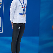 Britta Steffen of Germany on the podium after winning the Women's 50m Freestyle at the World Swimming Championships in Rome, Italy on Sunday, August 2, 2009. Photo Tim Clayton