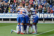 Reading striker Nick Blackman celebrates scoring the second goal during the Sky Bet Championship match between Reading and Middlesbrough at the Madejski Stadium, Reading, England on 3 October 2015. Photo by Alan Franklin.