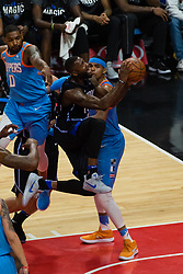 March 10, 2018 - Los Angeles, CA, U.S. - LOS ANGELES, CA - MARCH 10: Orlando Magic forward Jonathon Simmons (17) drives the ball into the basket during the game between the Orlando Magic and the LA Clippers on March 10, 2018, at STAPLES Center in Los Angeles, CA. (Photo by David Dennis/Icon Sportswire) (Credit Image: © David Dennis/Icon SMI via ZUMA Press)