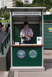© Licensed to London News Pictures. 28/06/2016. Kiosk selling official programmes on the second day of the WIMBLEDON Lawn Tennis Championships in London, UK. Photo credit: Ray Tang/LNP