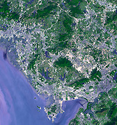 Shenzhen is a city of sub-provincial administrative status in southern China's Guangdong province, immediately north of Hong Kong, and located in the Pearl River Delta. Evidence of urbanization is evident in these two images. November 15, 1999 and January 1, 2008. Satellite image.