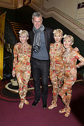MARK FOSTER and performers at the Cirque Du Soleil's VIP performance of Kooza at The Royal Albert Hall, London on 6th January 2015.