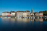 View of historic buildings in Honfleur, France. Honfleur is a commune in the Calvados department in northwestern France.