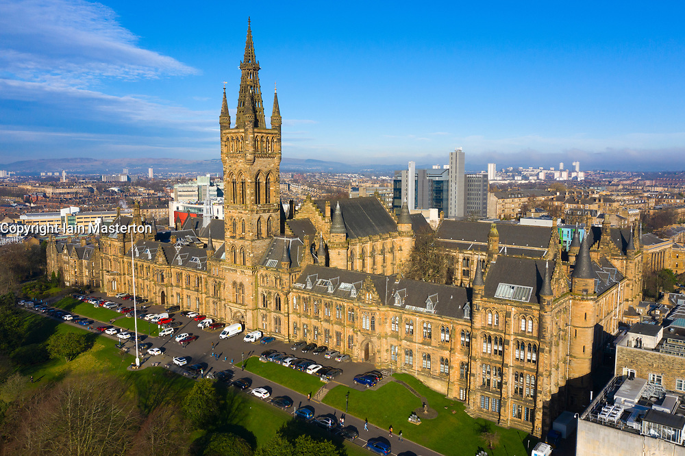 Aerial view of gothic buildings of Glasgow University, Scotland, UK