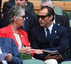 Actor Jude Law (USA) with his mother during the men semi finals at the 2017 Wimbledon Championships at the AELTC in London, UK, on July 14, 2017. Photo by Corinne Dubreuil/ABACAPRESS.COM