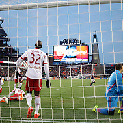 Dejected New York Red Bulls goalkeeper Luis Robles, (right) and team mates  after a goal from Charlie Davies, New England Revolution, for his sides first goal during the New England Revolution Vs New York Red Bulls, MLS Eastern Conference Final, second leg. Gillette Stadium, Foxborough, Massachusetts, USA. 29th November 2014. Photo Tim Clayton