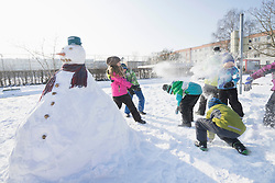 Children having snow fight