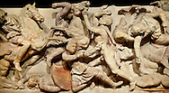 Greek relief sculptures of a battle on Alexander The Great ( Alexander III of Macedon )4th Cent BC. Sarcophagus calved from Pentelic Marble from the Royal Necropolis of Sidon, Chamber no.III, Lebanon. Istanbul Archaeological Museum Inv. 370T Cat. Mendel 68 .<br /> <br /> If you prefer to buy from our ALAMY STOCK LIBRARY page at https://www.alamy.com/portfolio/paul-williams-funkystock/greco-roman-sculptures.html- Type -    Istanbul    - into LOWER SEARCH WITHIN GALLERY box - Refine search by adding a subject, place, background colour, museum etc.<br /> <br /> Visit our CLASSICAL WORLD HISTORIC SITES PHOTO COLLECTIONS for more photos to download or buy as wall art prints https://funkystock.photoshelter.com/gallery-collection/The-Romans-Art-Artefacts-Antiquities-Historic-Sites-Pictures-Images/C0000r2uLJJo9_s0c