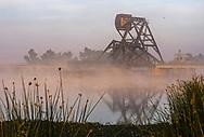 Railroad trestle drawbridge on Middle River, Bacon Island, San Joaquin County, Sacramento-San Joaquin River Delta, California