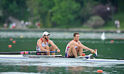 Bled, SLOVENIA,  Bow, Jacob CORNELIUS and Charles COLE. USA M2-  move away from the start in their heat of the men's pair on the opening day, FISA World Cup, Bled venue, Lake Bled.  Friday  28/05/2010  [Mandatory Credit Peter Spurrier/ Intersport Images]