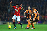 Radamel Falcao of Manchester United rounds Hull's Curtis Davies - Manchester United vs. Hull City - Barclay's Premier League - Old Trafford - Manchester - 29/11/2014 Pic Philip Oldham/Sportimage