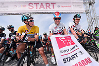 TERPSTRA Niki (NED) Yellow Leader Jersey / KRISTOFF Alexander (NOR)/ ROWE Luke (GBR) White Young Jersey / Start Departure, during the 14th Tour of Qatar 2015, Stage 5, Al Zubarah Fort - Madinat Al Shamal (153Km), on February 12, 2015. Photo Tim de Waele / DPPI