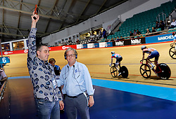 A guest fires the starter's pistol before the Women's 7.5km Tempo Race during day one of the Six Day Series Manchester at the HSBC UK National Cycling Centre.