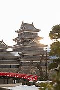 Architecture of Matsumoto Castle at sunset, Matsumoto, Japan