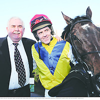 27 January 2008; Winning owner Alan Porrs and jockey Andrew McNamara after Sizing Europe won the AIG Europe Champion Hurdle. Leopardstown Racecourse, Leopardstown, Dublin. Picture credit: Ray McManus / SPORTSFILE