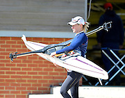 Caverham, Great Britain,  Katie GREVES carries her single to the dock. GBRT Senior U23 Trials.  At the, GB Rowing centre. Redgrave Pinsent Rowing Lake near Reading, 11:02:20  Saturday  20/04/2013  [Mandatory Credit. Peter Spurrier/Intersport Images]