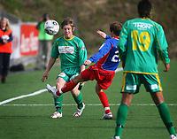 Fotball<br /> Adeccoligaen 2006<br /> 25.05.2006<br /> Tromsdalen v Manglerud Star 6-2<br /> Foto: Tom Benjaminsen, Digitalsport<br /> <br /> Boye Storhaug Sørensen, Manglerud Star<br /> Espen Minde, Tromsdalen<br /> Yassir Bashir, Manglerud Star