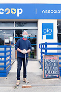 small bio grocery store worker in time of the Covid 19 crisis France April 2020