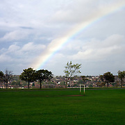 A rainbow over Parson Cross park, Sheffield, South Yorkshire, UK