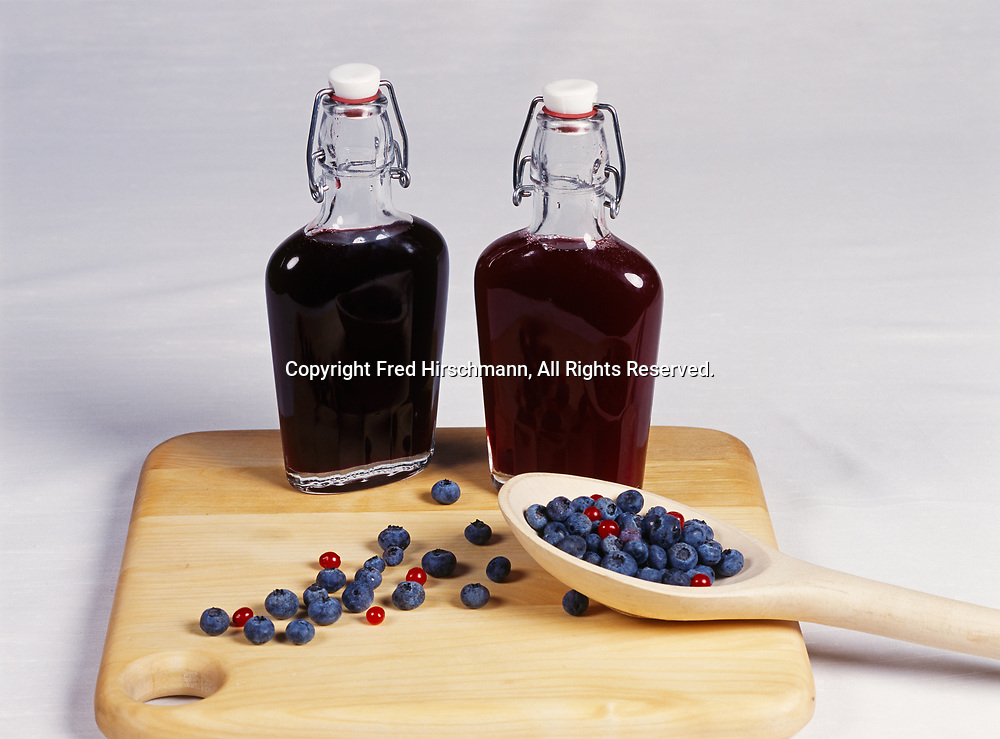 """Blueberry and Red Raspberry Syrup, recipes in the """"Winterlake Lodge Cookbook"""" and photographed in Wasilla, Alaska."""