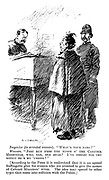"""Inspector (to arrested woman). """"What's your name?"""" Woman. """"Jest run froo the nimes o' the cabinick minstrels, will yer, ole dear? I've forgot for the minnit oo's my 'usbing!"""" [According to the press it is understood that it is an agreed suffragette plan for women who are arrested to give the names of cabinet ministers' wives. The idea may spread to other types that come into collision with the police.]"""