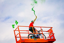 Fan as cyclist on a crane during 2nd Stage of 25th Tour de Slovenie 2018 cycling race between Maribor and Rogaska Slatina (152,7 km), on June 14, 2018 in  Slovenia. Photo by Vid Ponikvar / Sportida