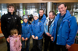 Slovenian ski jumper Peter Prevc with his sister Nika, younger brothers Domen and Cene at arrival to Airport Joze Pucnik from Vancouver after Winter Olympic games 2010, on February 24, 2010 in Brnik, Slovenia. (Photo by Vid Ponikvar / Sportida)