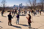 09 MARCH 2021 - DES MOINES, IOWA: About 75 people attended a memorial service for the 5,574 Iowans killed by COVID-19 in the one year since the pandemic started. The first three cases of the Coronavirus (SARS-CoV-2), all Iowans who had traveled to Egypt on a cruise, were reported to the Iowa Department of Public Health on March 8, 2020. The first fatality in Iowa was reported on March 25, 2020.     PHOTO BY JACK KURTZ