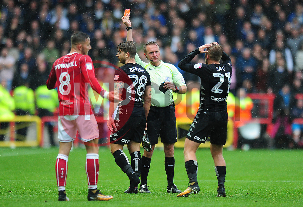 Gaetano Berardi of Leeds United receives a red card - Mandatory by-line: Dougie Allward/JMP - 21/10/2017 - FOOTBALL - Ashton Gate Stadium - Bristol, England - Bristol City v Leeds United - Sky Bet Championship