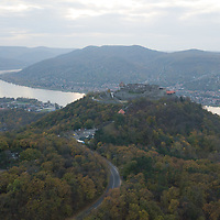 Castle of Visegrad is seen with river Danube in the autumn afternoon on an aerial photo taken near Visegrad (about 43 kilometres North of capital city Budapest), Hungary on Nov. 1, 2017. ATTILA VOLGYI