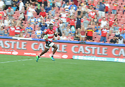 070418 Emirates Airlines Park, Ellis Park, Johannesburg, South Africa. Super Rugby. Lions vs Stormers. Madosh Tambwe heads for the tryline during the fisrt half. Madosh went on to be man of the match.<br />Picture: Karen Sandison/African News Agency (ANA)