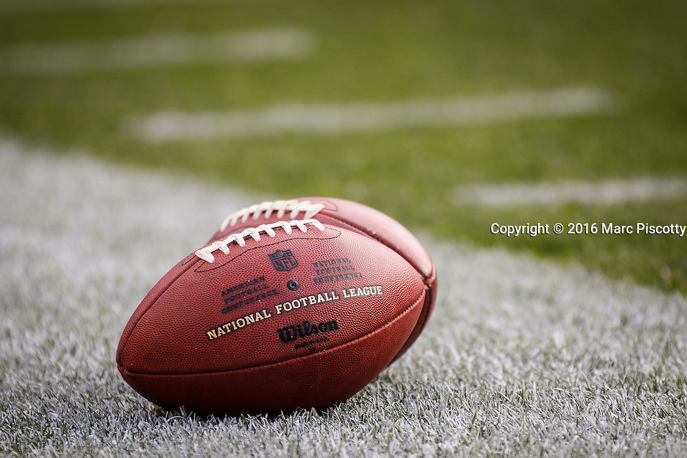 A pair of footballs rest along the sidelines as players participate in pregame warmups before a preseason game between the Denver Broncos and Los Angeles Rams at Sports Authority Field at Mile High in Denver, CO, August 27, 2016. (Photo by Marc Piscotty / © 2016)