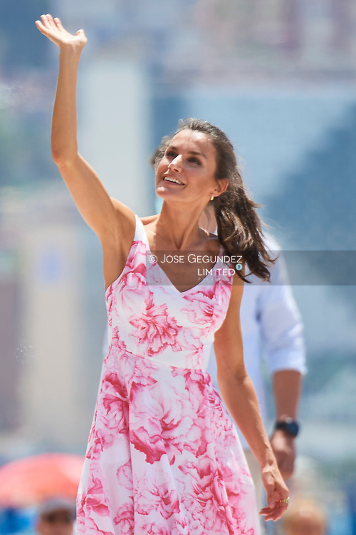 King Felipe VI of Spain, Queen Letizia of Spain visit Levante Beach on July 3, 2020 in Benidorm, Spain